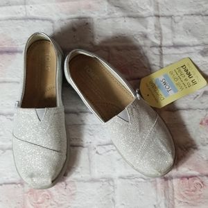 TOMS Youth Silver Shoes